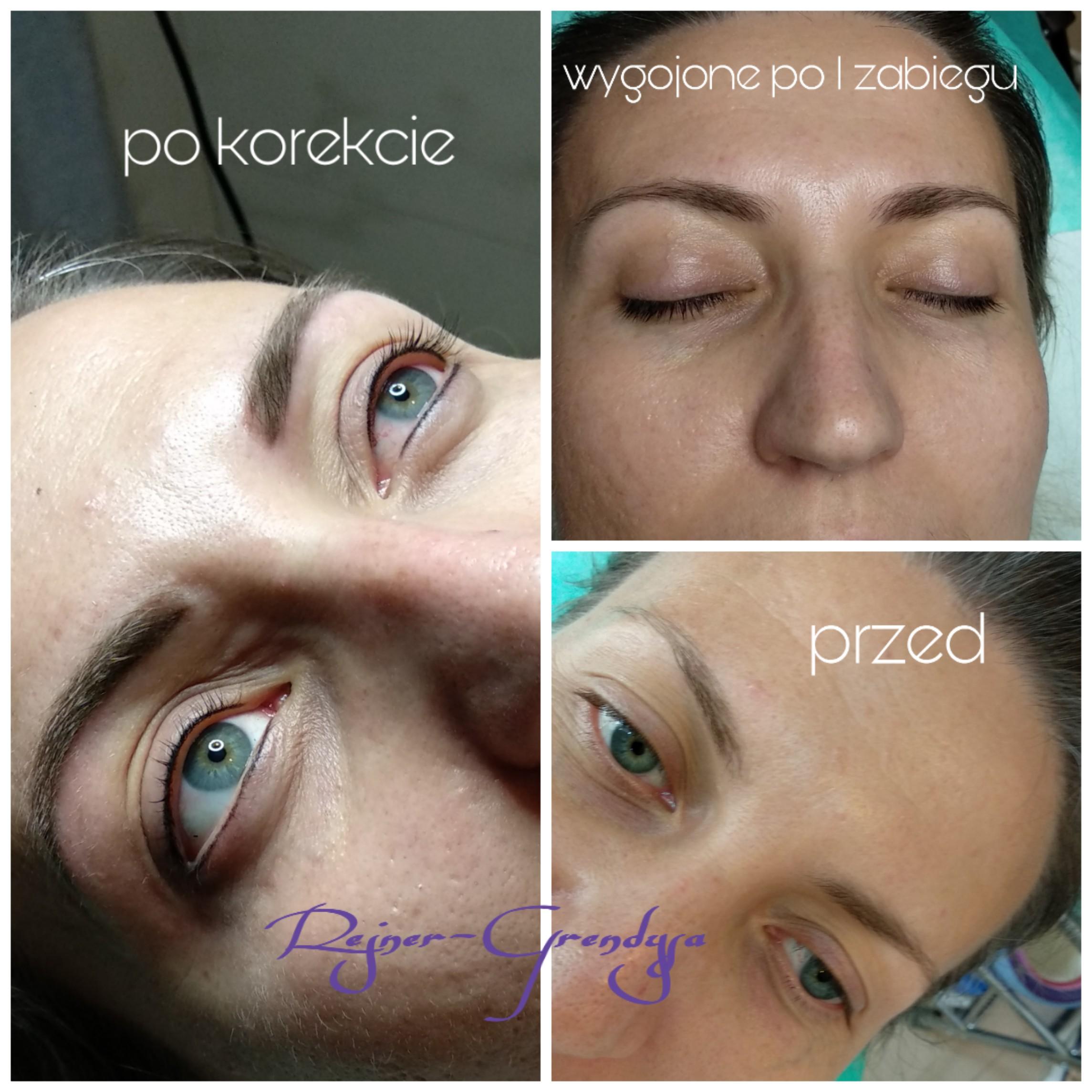 Makijaż permanentny wygojony i po korekcie